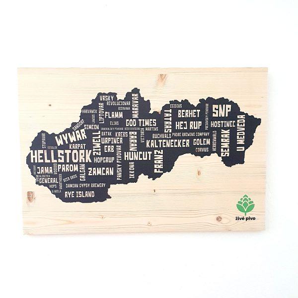 Drevený obraz s pivnou mapou 40x60cm