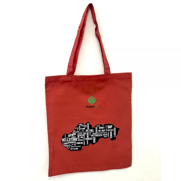 Bavlnená taška: Pivná mapa – malá – Červená